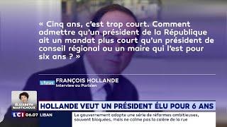 François Hollande veut un mandat de 6 ans pour le président de la République