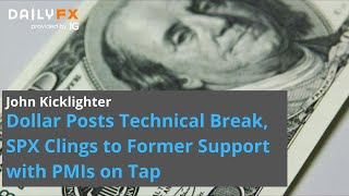 S&P500 INDEX Dollar Posts Technical Break, SPX Clings to Former Support with PMIs on Tap