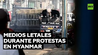 Dispararan contra manifestantes contrarios al golpe militar en Myanmar