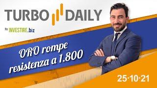GOLD - USD TURBO DAILY   25.10.2021 - ORO rompe resistenza a 1.800