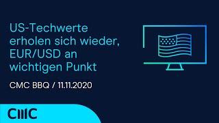EUR/USD US-Techwerte erholen sich wieder, EUR/USD an wichtigen Punkt (CMC BBQ 11.11.20)