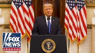 President Donald Trump gives a farewell address to the American people