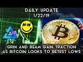 Bitcoin - Daily Update (1/22/19) | Bitcoin looks to retest 200-week and Grin and Beam gain traction