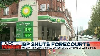 BP PLC DZ/1 DL-.25 Oil giant BP temporarily closes forecourts in Britain due to shortage of lorry drivers