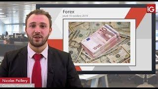 EUR/USD Bourse - EURUSD, coincé entre l'ancien biseau et les 1.1000 - IG 10.10.2019