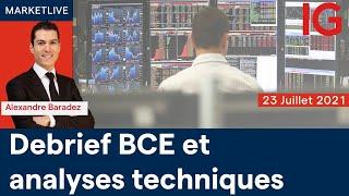 CAC40 INDEX Analyse des marchés 11h - 23/07/2021  (CAC40 DAX30 SP500 DOWJONES NASDAQ100...) BCE