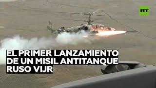 Graban el primer lanzamiento de un misil antitanque ruso Vijr desde un helicóptero de ataque Ka-52