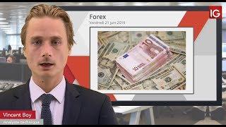 EUR/USD Bourse - EURUSD, évolue au contact de la MM200 - IG 21.06.2019