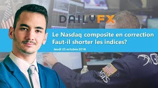 NASDAQ Composite Index Le Nasdaq composite en correction - Faut-il shorter les indices?