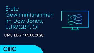 EUR/GBP Erste Gewinnmitnahmen im Dow Jones, EUR/GBP, Öl ( CMC BBQ 09.06.20)