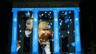 La Secretaría de Derechos Humanos homenajeó a Néstor Kirchner con un mapping en la ex-ESMA