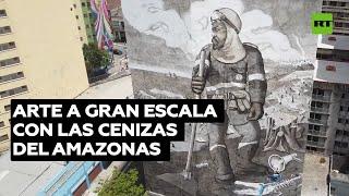 Artista crea un mural gigante con las cenizas de los incendios del Amazonas @RT Play en Español