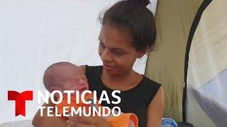 Nace un bebé en un campamento de damnificados por los huracanes en Honduras | Noticias Telemundo