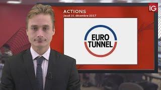 GETLINK SE Bourse - Action Eurotunnel, sous la MM50 - IG 21.12.2017